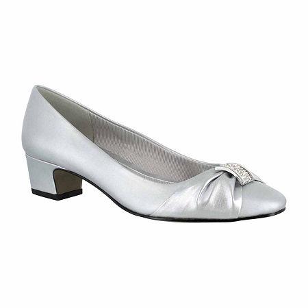 Easy Street Womens Eloise Pumps Block Heel, 7 1/2 Medium, Silver