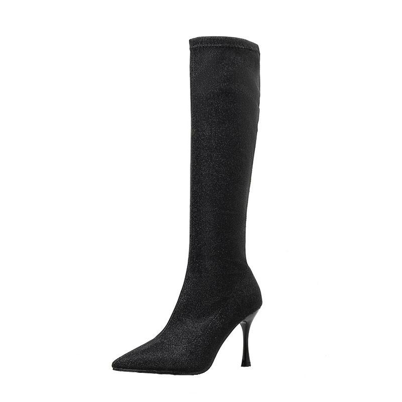 Ericdress Slip-On Pointed Toe Glitter Knee High Boots