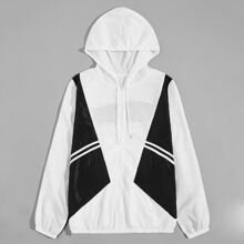 Men Color-block Striped Tape Panel Hooded Windbreaker Jacket
