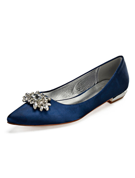 Milanoo Satin Mother Shoes Wedding Flat Dark Navy Jewel Pointed Toe Bridal Shoes