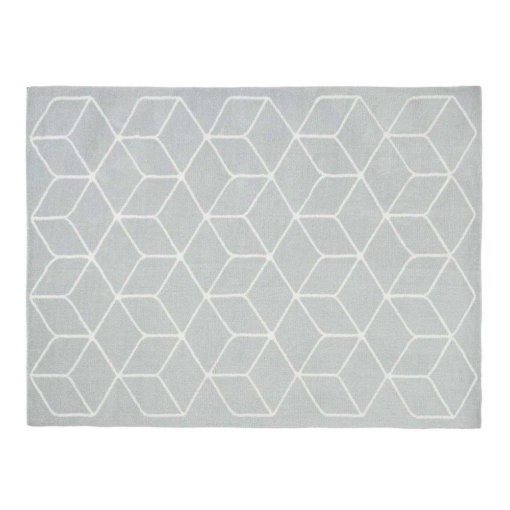 Teppich mit grauen und weissen Motiven 140x200cm