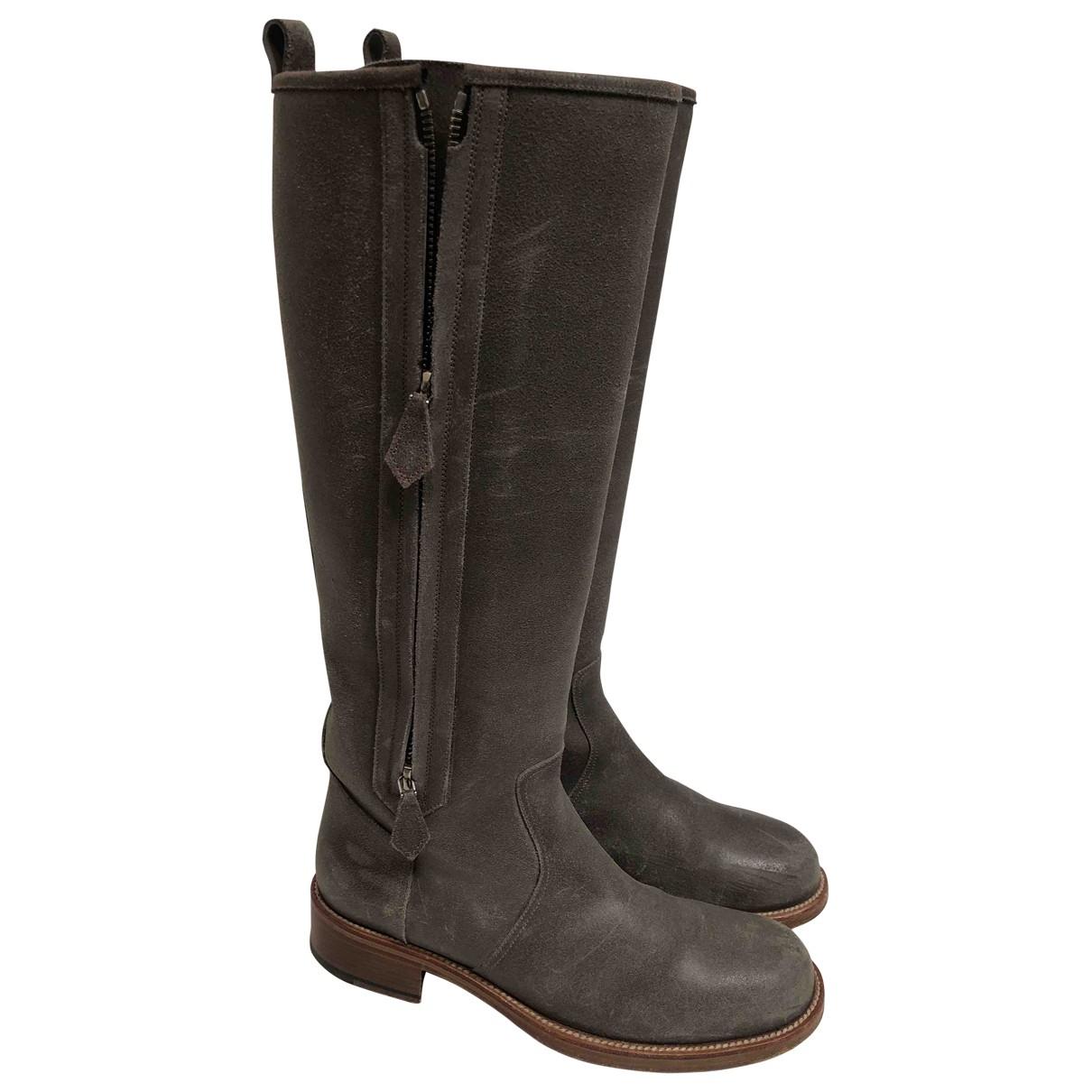 Hermes - Bottes   pour femme en cuir - gris