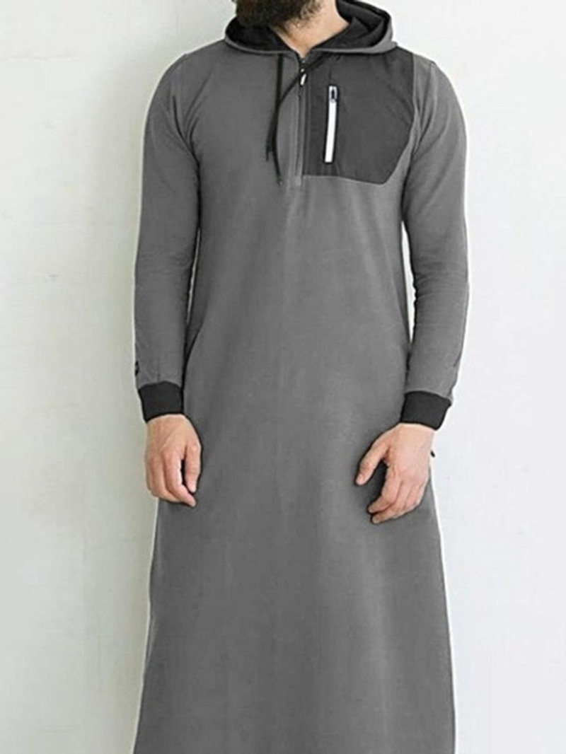 Ericdress Hooded Color Block Vintage Mens Straight Shirt