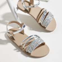 Toddler Girls Metallic Glitter Decor Sandals
