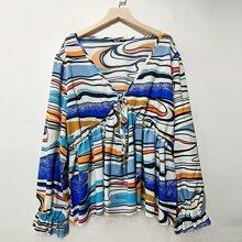 Bluse mit komplettem Muster, Band vorn und Schosschen