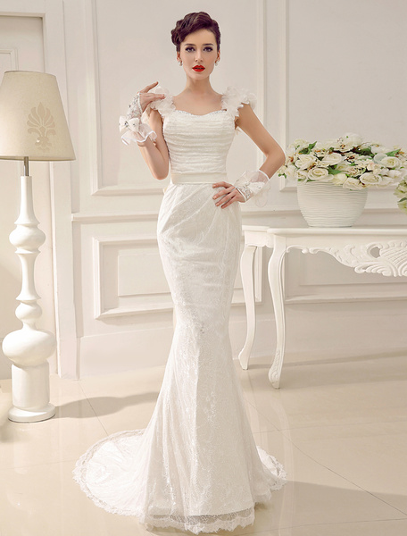 Milanoo Sweetheart Neck Court Train Lace Flower Sequin Bridal Wedding Gown With Sash