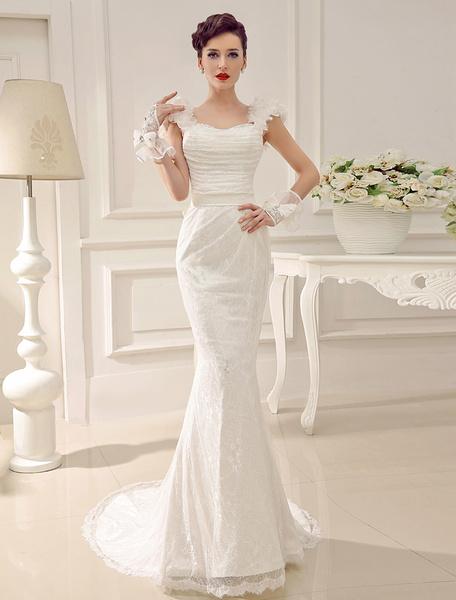 Milanoo Vestido de novia con escote en corazon de cola larga