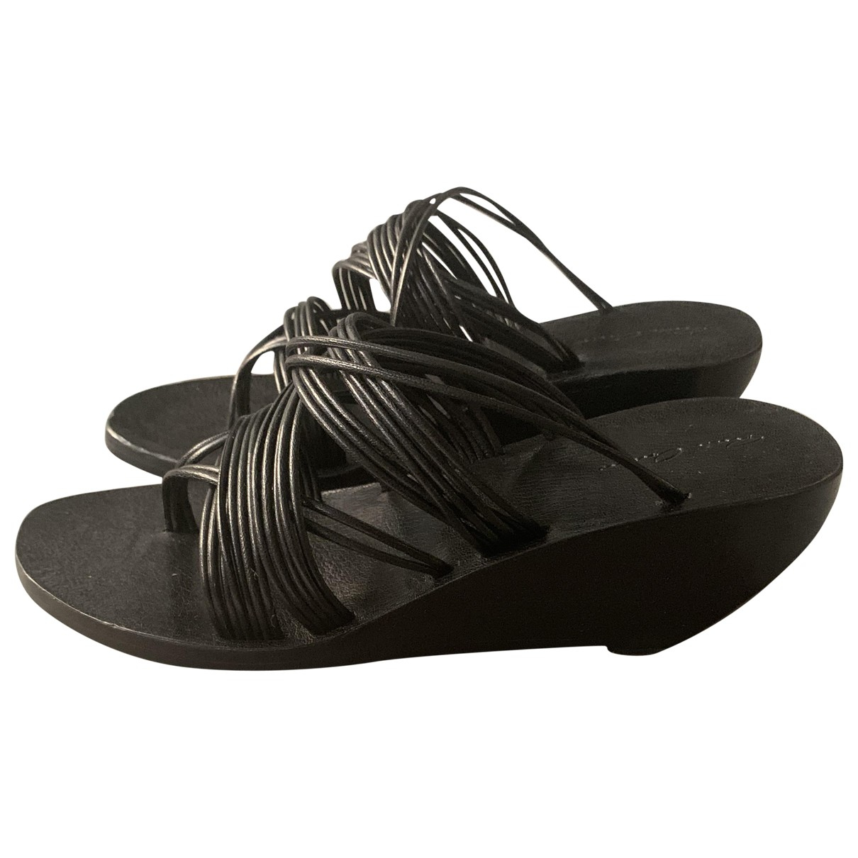 Rick Owens \N Black Leather Sandals for Women 40 IT
