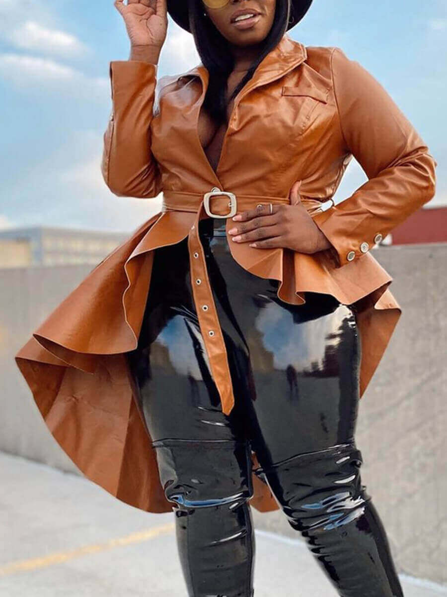 LW Lovely Trendy Asymmetrical Brown Leather