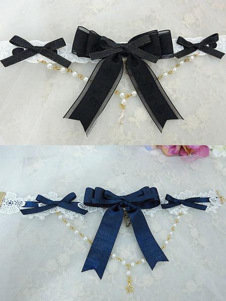 Milanoo Sweet Lolita Necklace Pearl Beading Bowknot Lolita Choker Necklace