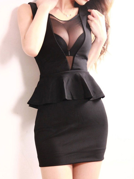 Milanoo Black Club Dress Sleeveless Peplum Shaping Sexy Mini Dress