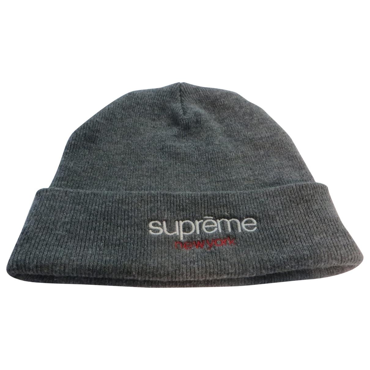 Supreme - Chapeau & Bonnets   pour homme en coton - gris