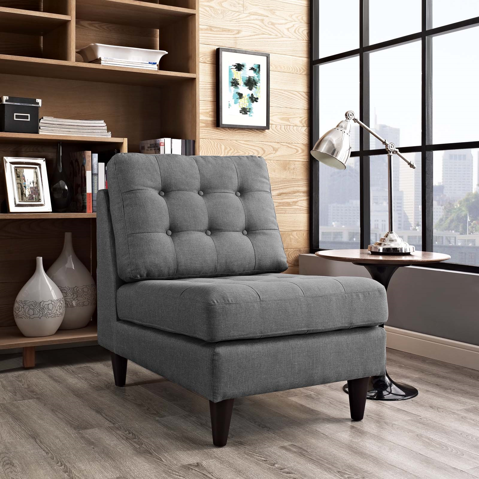 Empress Upholstered Fabric Lounge Chair in Gray