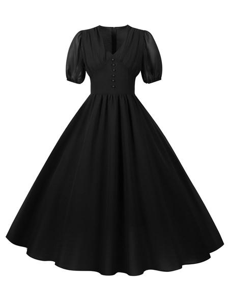 Milanoo Vestido largo de la vendimia vestido corto rojo retro mujer mangas de 1950 con cuello en V vestido de oscilacion