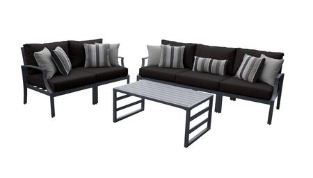 Lexington LEXINGTON-06m-BLACK 6-Piece Aluminum Patio Set 06m with 2 Left Arm Chairs  2 Right Arm Chairs  1 Armless Chair and 1 Coffee Table - Ash and