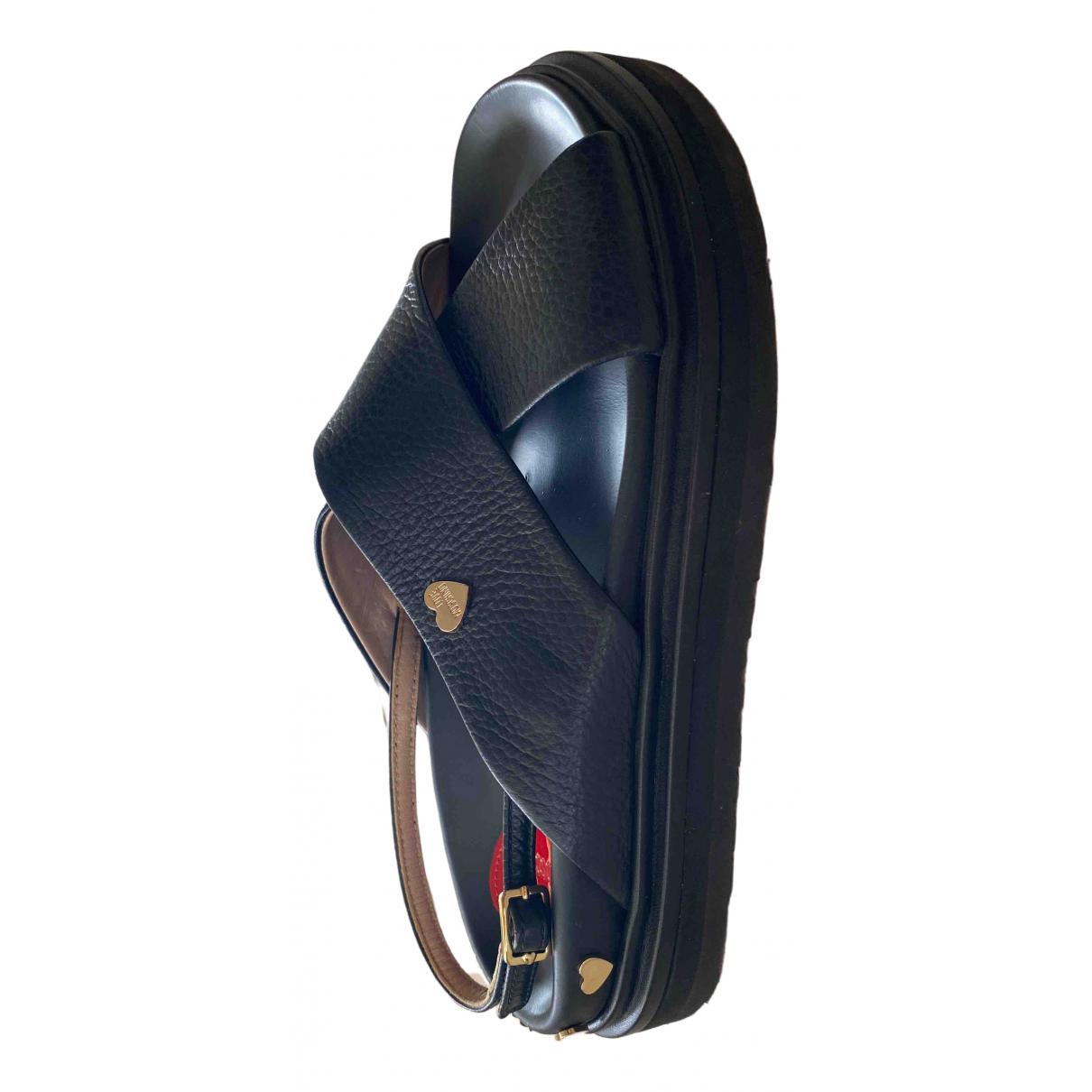 Moschino Love - Sandales   pour femme en cuir - noir
