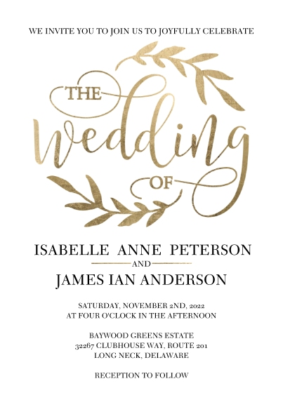 Wedding Invitations 5x7 Cards, Premium Cardstock 120lb with Rounded Corners, Card & Stationery -Wedding Invitation Laurels by Tumbalina