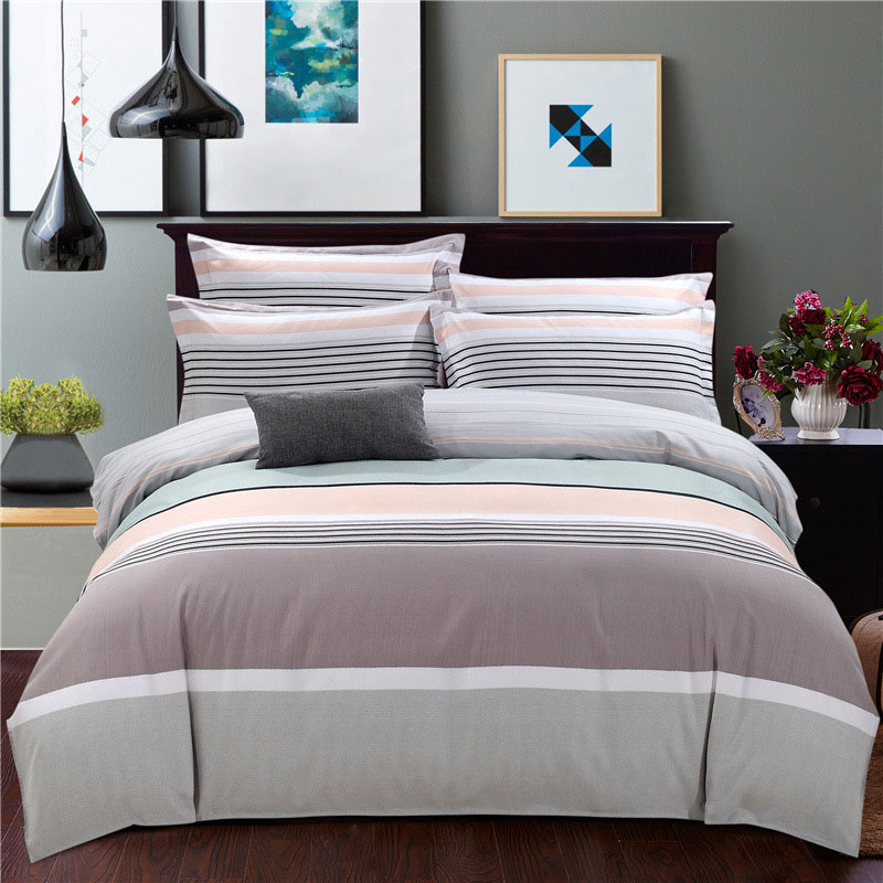 Classic Blue and Grey Stripe 4Piece Polyester Bedding Sets Soft Durable Zipper Bedding Sets Household Necessary Set