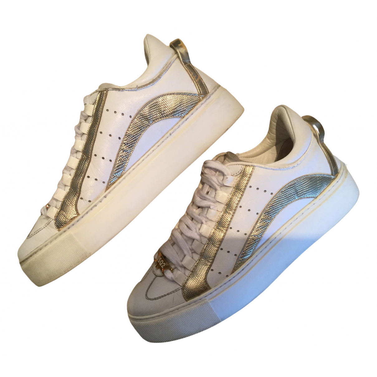 Dsquared2 N White Leather Trainers for Women 38 EU