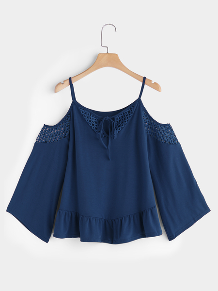 Yoins Blue Hollow Detials Cold Shoulder Lace Up Details Long Flared Sleeves Blouse