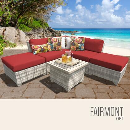 FAIRMONT-06f-TERRACOTTA Fairmont 6 Piece Outdoor Wicker Patio Furniture Set 06f with 2 Covers: Beige and