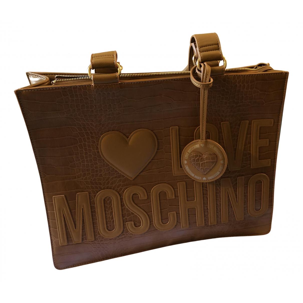 Moschino Love \N Handtasche in  Kamel Leder