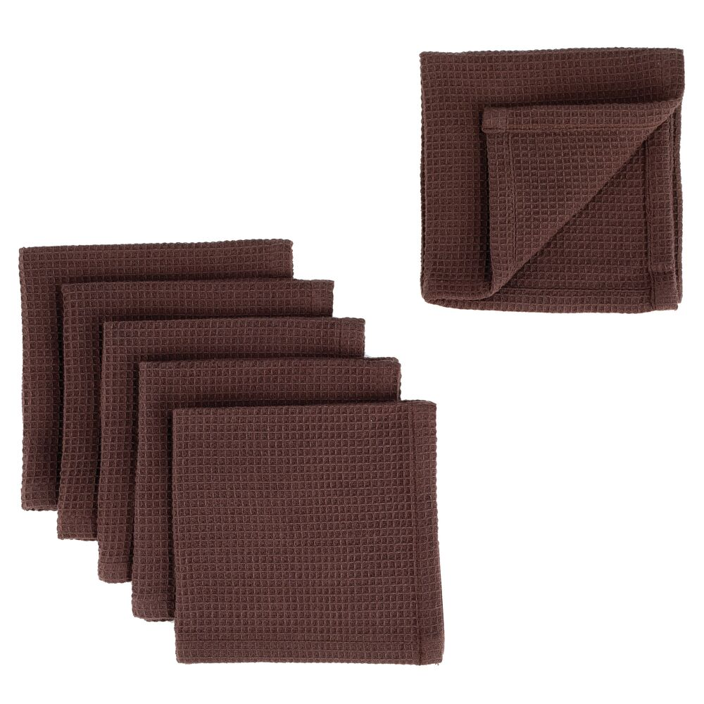 Kitchen Towel Set with Waffle Texture - Pack of in Chocolate, by mDesign