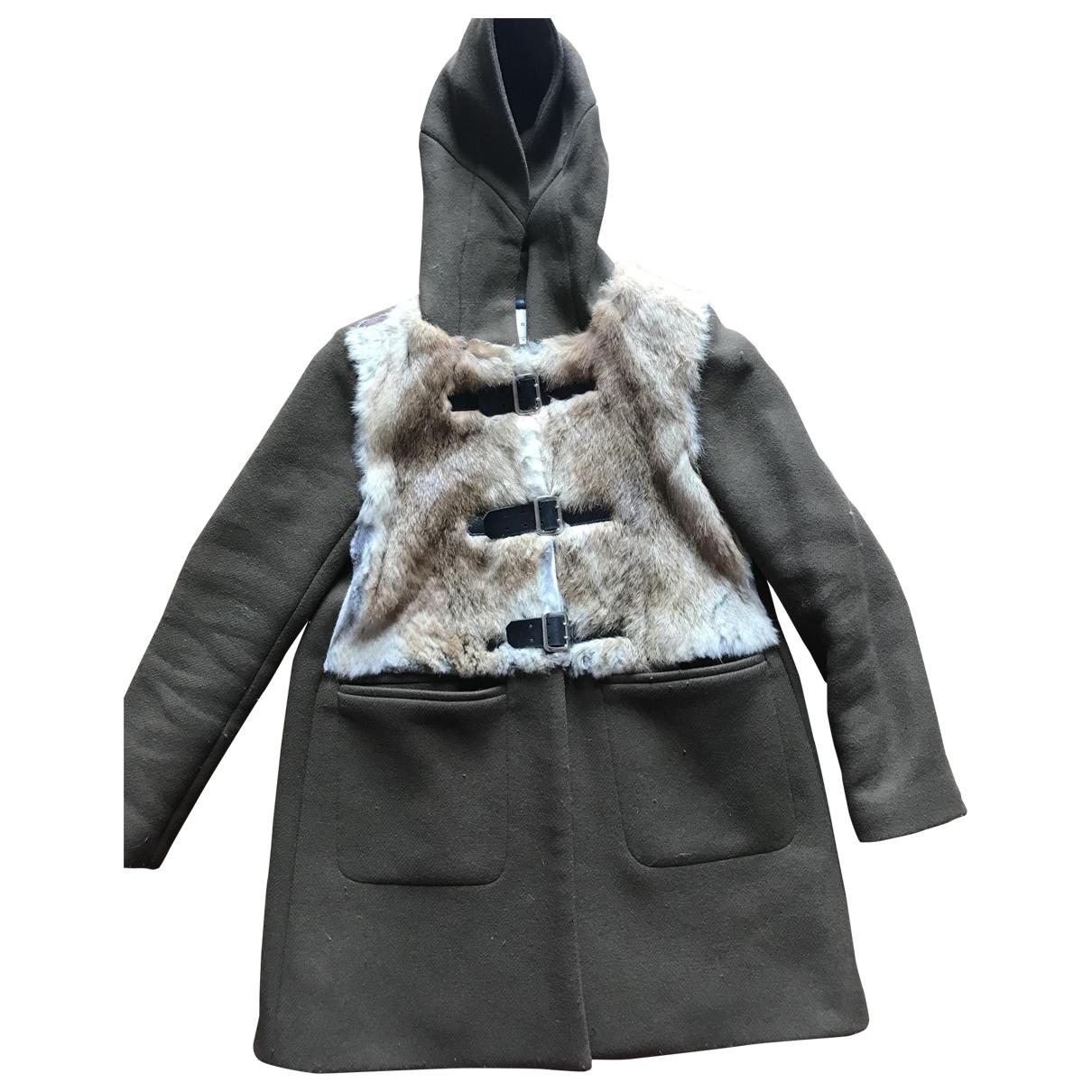 Sandro - Manteau   pour femme en laine - kaki