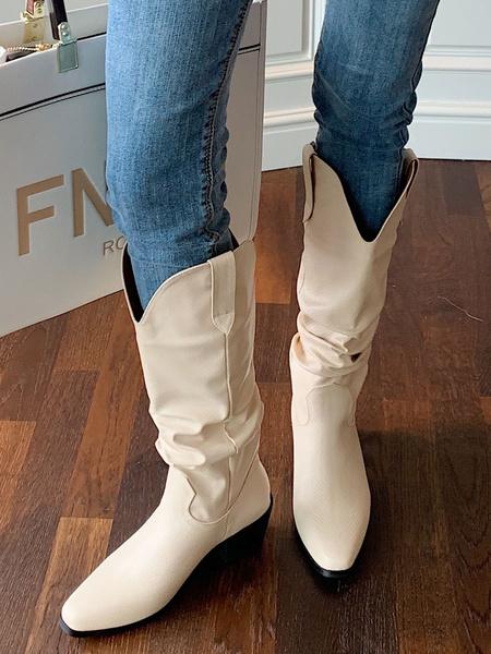Milanoo Women\'s Mid Calf Boots Black PU Leather Square Toe Fish Print Shoes