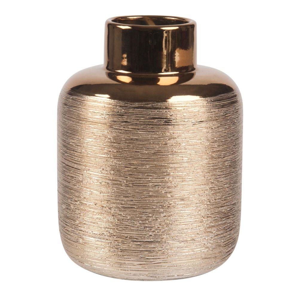 Geriffelte Vase aus goldfarbenem Steinzeug H16