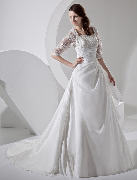 Milanoo Court Train Ivory Bridal Wedding Dress with Square Neck