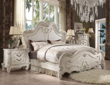 Versailles Collection 21757EK3SET 3 PC Bedroom Set with King Size Bed  Nightstand and Chest in Bone White