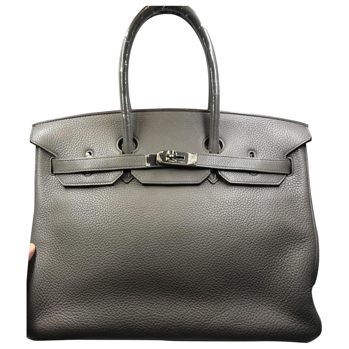 Hermes - Sac a main Birkin 35 pour femme en cuir - gris