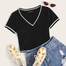 Strick Crop T-Shirt mit Streifen Band