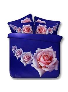 Fragrant Pink Roses Print 5-Piece Comforter Sets
