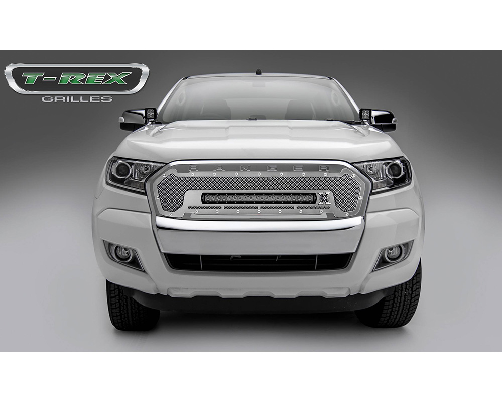 2015-2018 Ford Ranger T6 Torch Grille, Polished, 1 Pc, Insert, Chrome Studs, Incl. (1) 20
