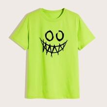 Camiseta de hombres con estampado de dibujos animados verde neon