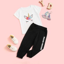 Toddler Girls Cartoon Graphic Tee & Letter Graphic Sweatpants