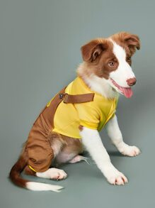 1pc Chick Patched Dog Jumpsuit
