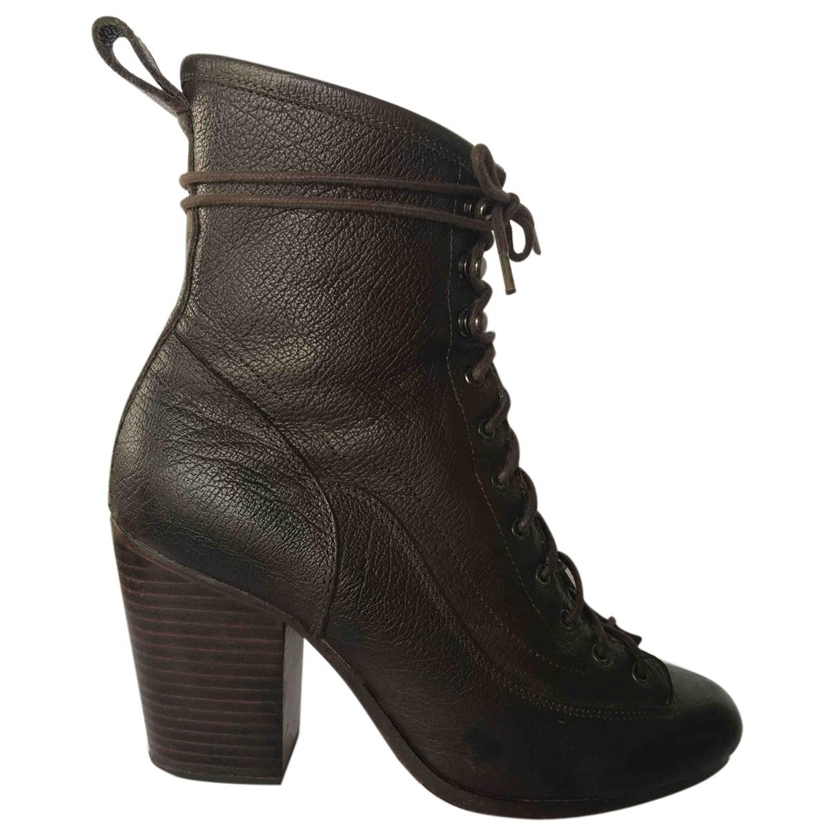 Rag & Bone - Boots   pour femme en cuir - marron