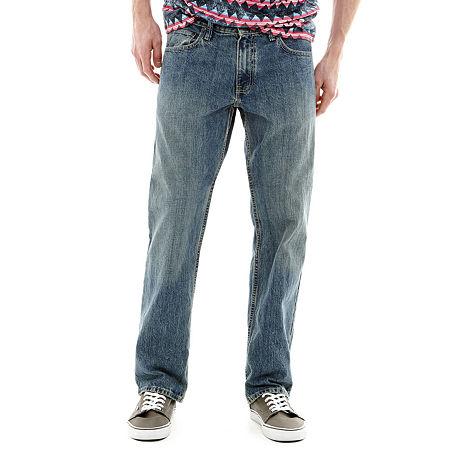 Arizona Mens Original Fit Straight Leg Jean, 31 32, Blue