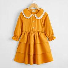 Toddler Girls Schiffy Trim Doll Collar Layered Dress
