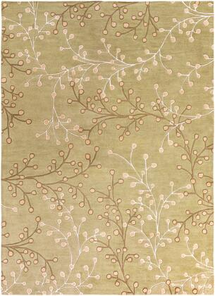 Athena ATH-5113 8' x 11' Rectangle Cottage Rug in Taupe  Olive  Tan