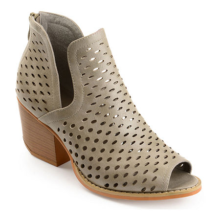Journee Collection Womens Alaric Booties Stacked Heel, 12 Medium, Gray