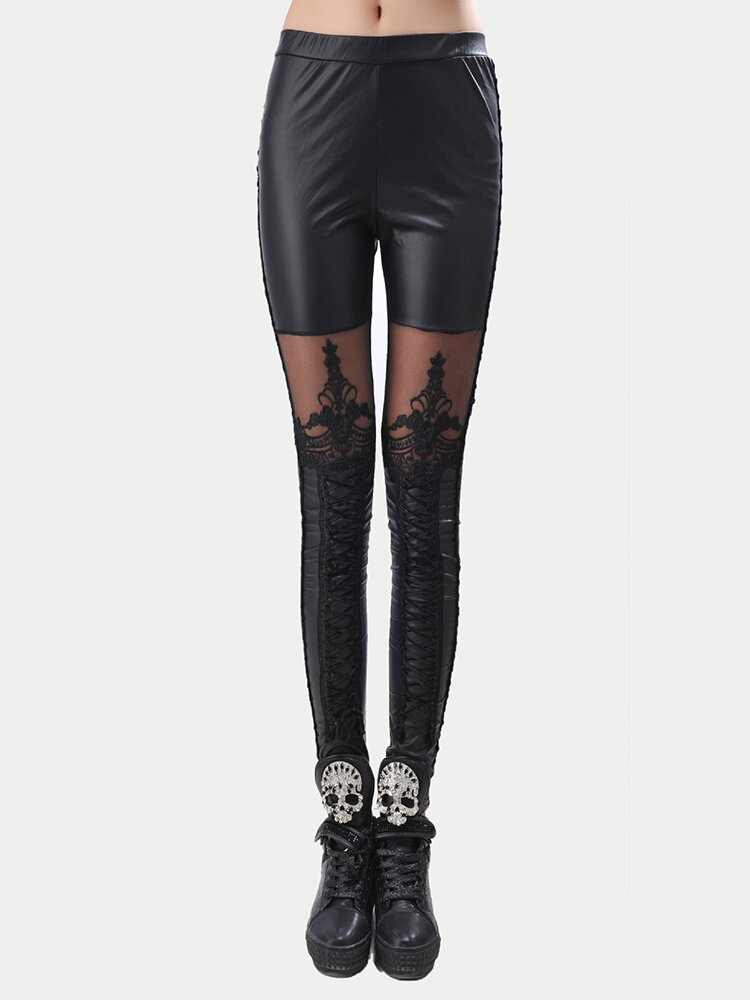 PU Lace Faux Leather Vintage Leggings Trousers