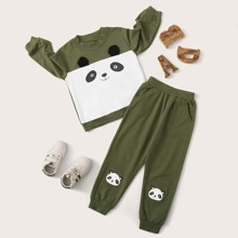 Toddler Boys Two Tone Cartoon Graphic Sweatshirt & Sweatpants