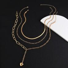 3pcs Men Heart Y-lariat Layered Necklace
