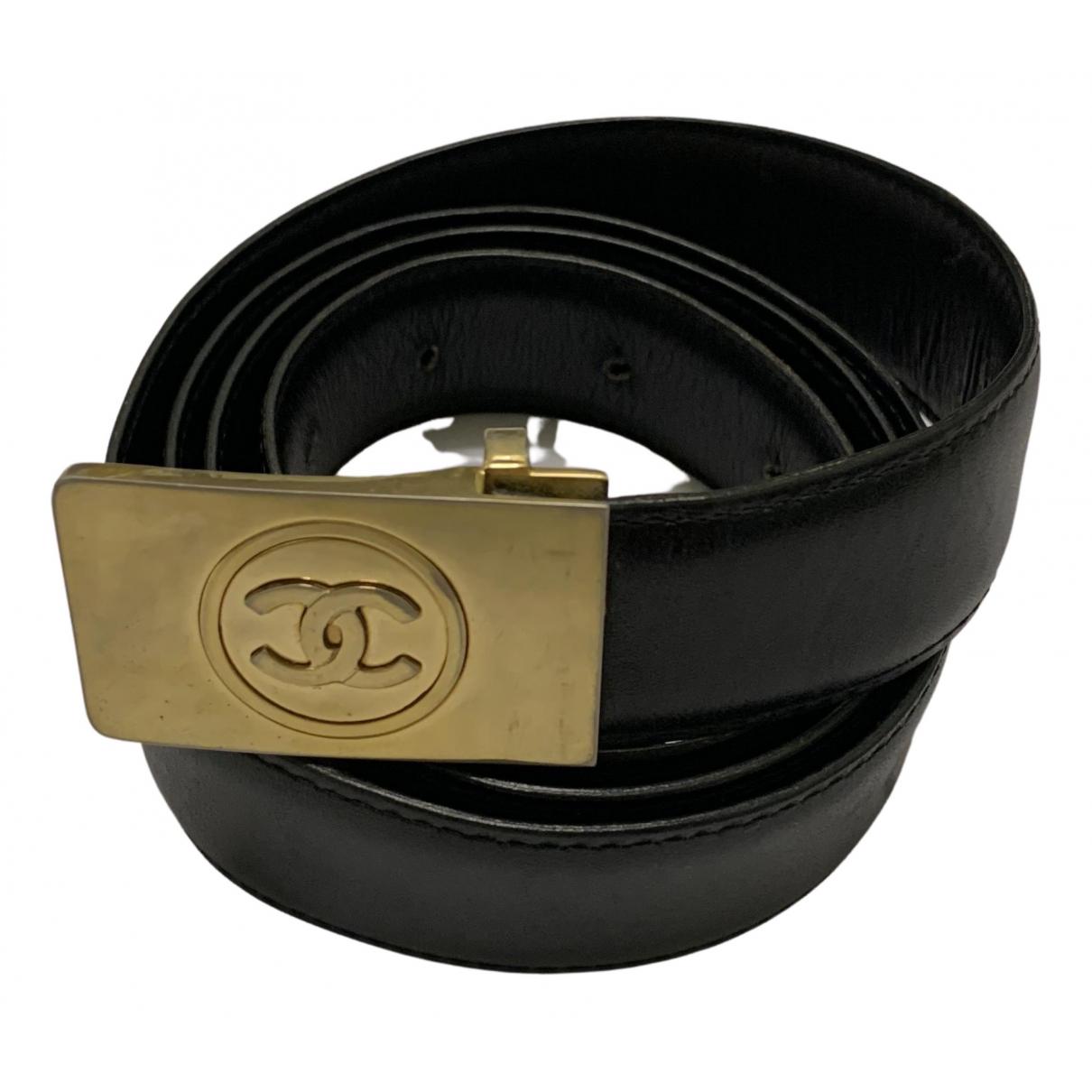 Chanel \N Black Leather belt for Men 35 Inches