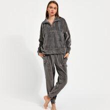 PJM Drop Shoulder Velvet Pullover and Pants PJ Set
