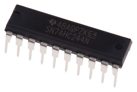 Texas Instruments SN74HC244N Octal-Channel Buffer & Line Driver, 3-State, 20-Pin PDIP